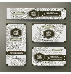 Corporate identity set with doodles japan food vector
