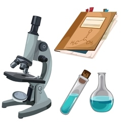 Microscope flasks and books for research notes vector