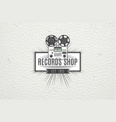 color sticker music shop and studio recording vector image