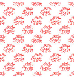 holiday seamless pattern with hand lettering hello vector image