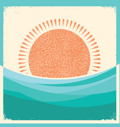 Sea waves and sun retro background vintage vector