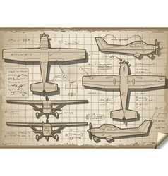 Old plane project in five views vector