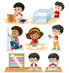 Boys and girl doing math problems vector
