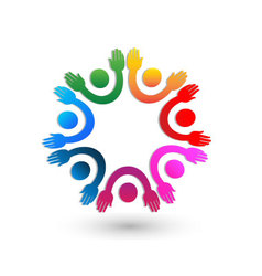 Teamwork hands up logo vector