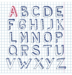Sketch alphabet font notebook vector