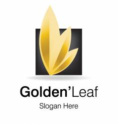 Golden leaf logo vector