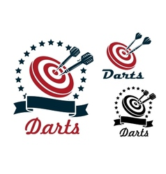 Darts sporting symbols and emblems vector