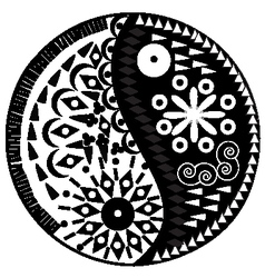 Yin yang symbol asian decoration element vector