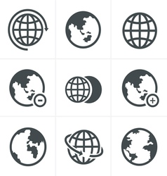 Earth icons set vector