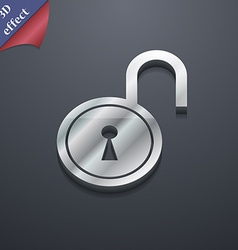 Open lock icon symbol 3d style trendy modern vector