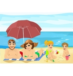 Family at tropical beach sunbathing vector