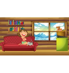 A girl and her pet sitting at the couch inside the vector image
