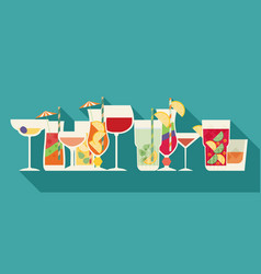 Alcohol drinks and cocktails set in flat design vector