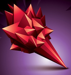 Asymmetric 3d abstract object red geometric vector