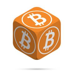 bitcoin orange bitcoin cube vector image vector image