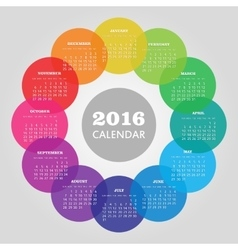 Calendar 2016 year with colored circle vector