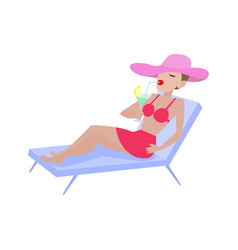Cartoon girl in swimsuit lies on deckchair vector