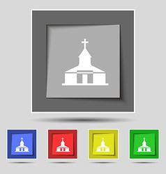 Church icon sign on original five colored buttons vector