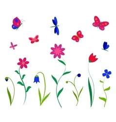 Colorful flowers butterflies and dragonflies vector image vector image