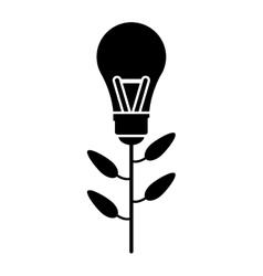 eco bulb idea plant silhouette vector image