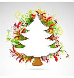 Floral christmas tree vector