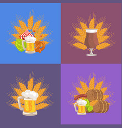 four sets of beer presentation vector image vector image
