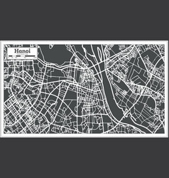 hanoi vietnam city map in retro style outline map vector image