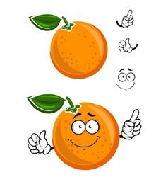 Happy juicy cartoon orange with green leaf vector image