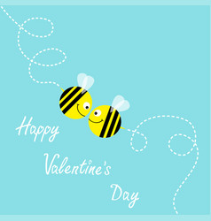 Happy valentines day flying bee kissing couple in vector