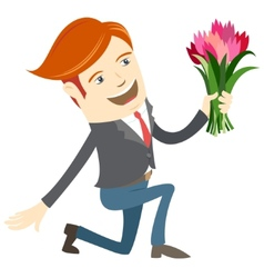 Hipster funny man kneeling holding flowers flat vector