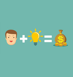 man plus good idea equal money vector image