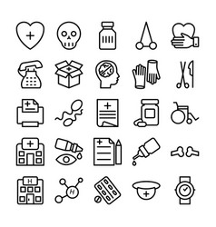 Medical health and hospital line icons 10 vector