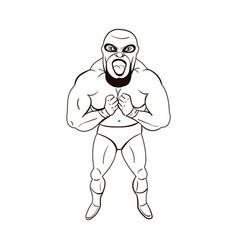 Mexican wrestler in cartoon style vector