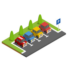 parking with parked cars next to green trees vector image vector image