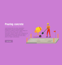 Pouring concrete web banner modern building vector