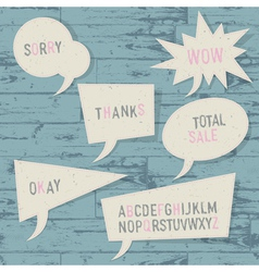 sample text and sketch alphabet in speech bubbles vector image vector image