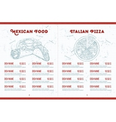 Scetch horisontal menu design vector image
