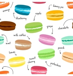 Seamless pattern wirh hand drawn macaroons Food vector image vector image