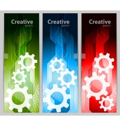 Set of banners with gears vector image