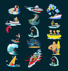 set of water extreme sports icons isolated design vector image vector image