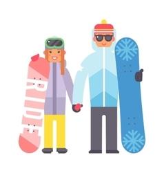 Skiing snowboard man and woman vector