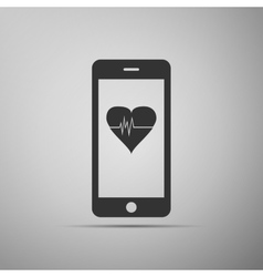 Smartphone with heart rate monitor function on vector