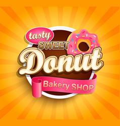sweet donut label vector image