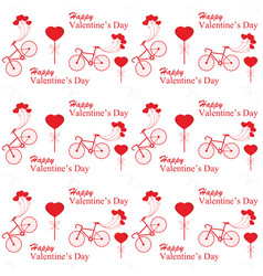 valentines day with bicycle and ballon heart vector image