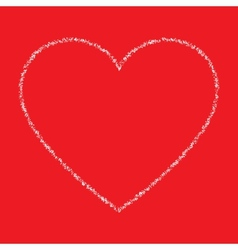 White Hand Drawn Thin Contour Grunge Heart vector image