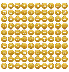 100 transportation icons set gold vector