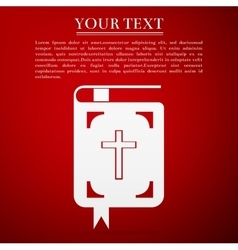 Bible flat icon on red background vector