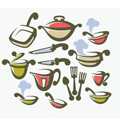 food cooking and dish collection vector image