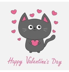 Happy valentines day pink text gray contour cat vector