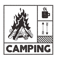wanderlust camping stamp old school hand drawn t vector image
